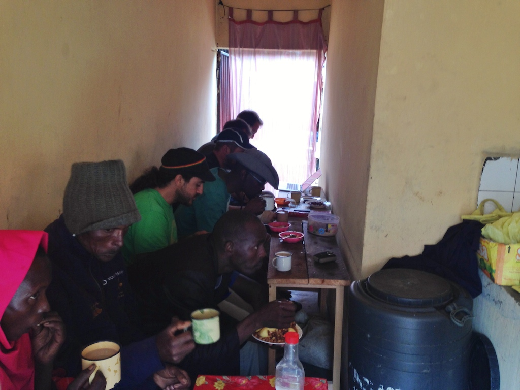 Hot chai, chapati and stew for lunch in Maralal