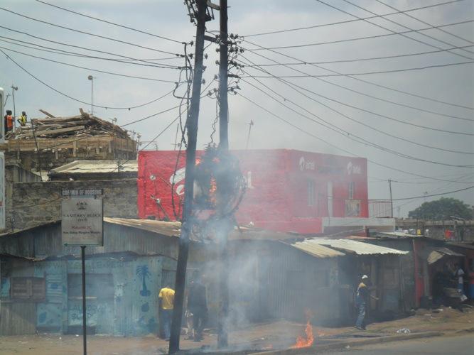 A power transformer blows up along Juja road in Nairobi