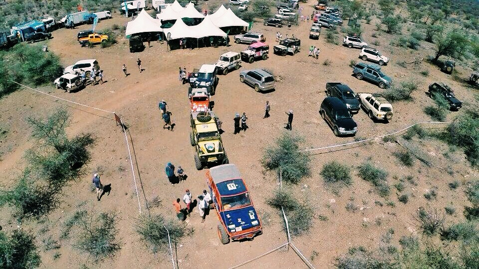 Rhino Charge vehicles checking in for scrutineering before the race