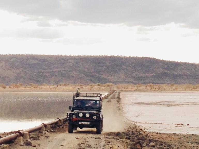 Reg in the Land Rover at Lake Magadi