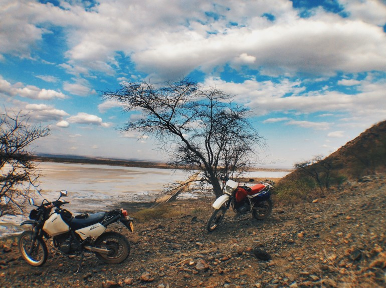 Coming down a steep and rocky hill overlooking Lake Magadi