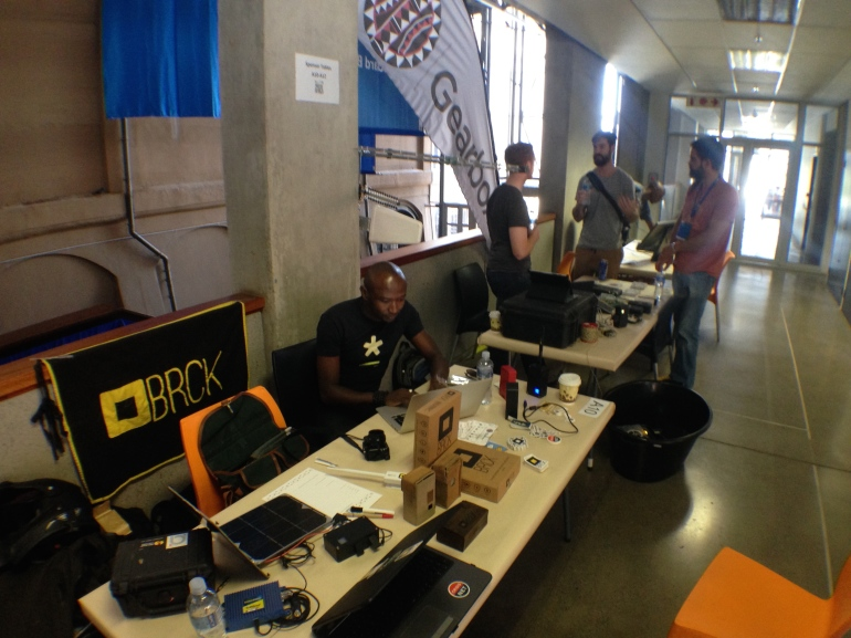 The BRCK and Gearbox tables at Maker Faire Africa in Johannesburg