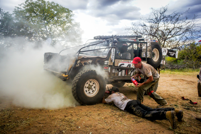 Rhino Charge car with issues