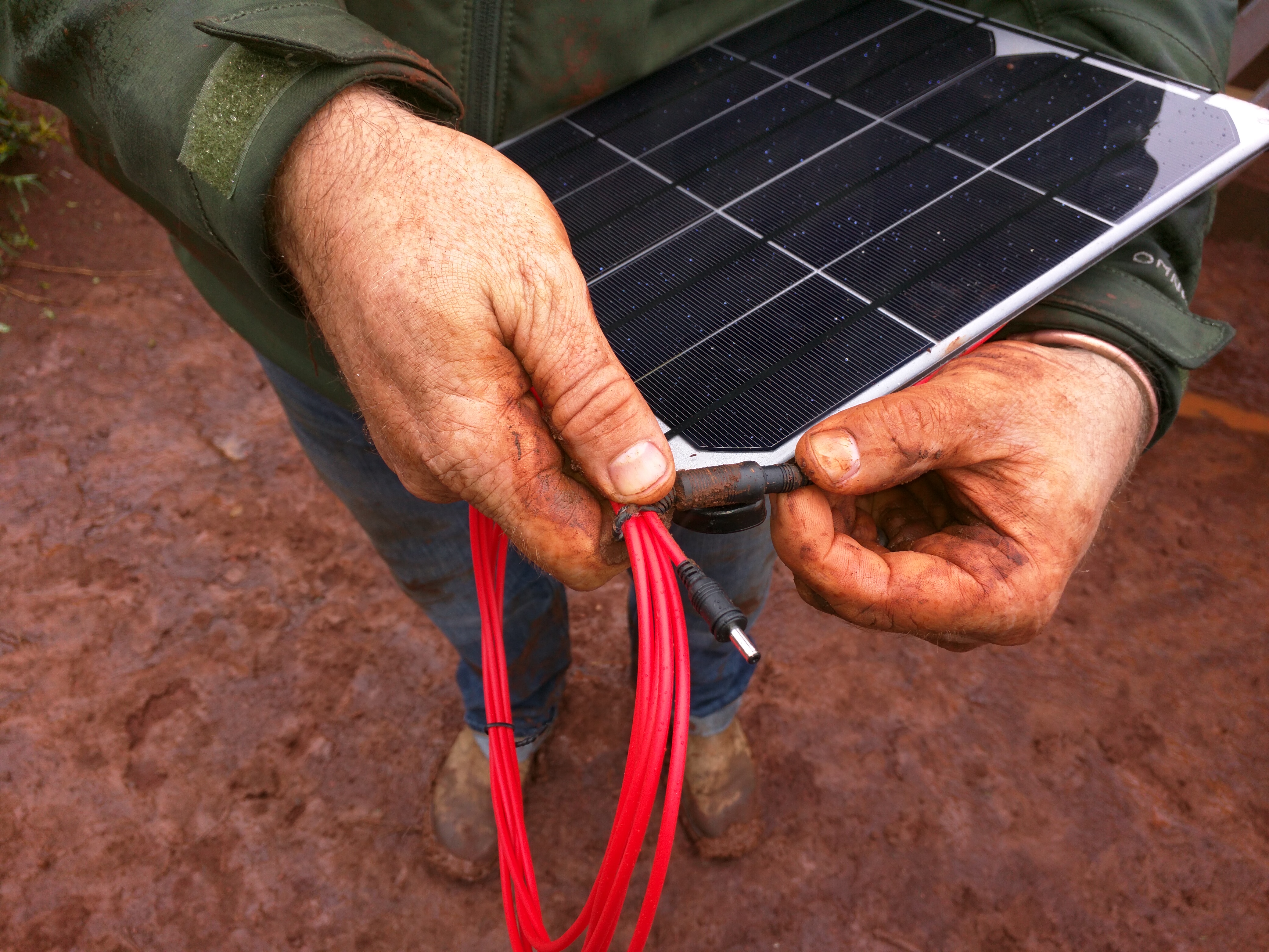 A sample of the solar panels and cables used.